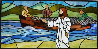 jesus fisherman stained glass